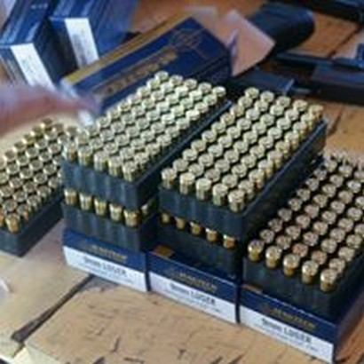 sets of 9 mm bullets on a table